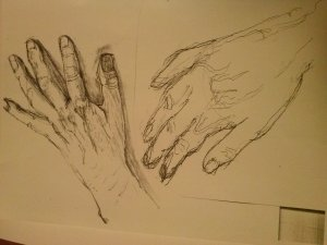 My left hand, drawn by my right hand, and my right by my left